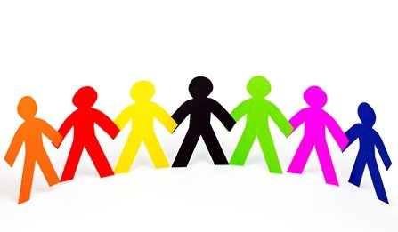 multi-coloured person silhouettes holding hands