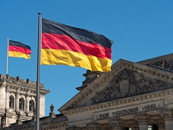 German flag outside the Reichstag building